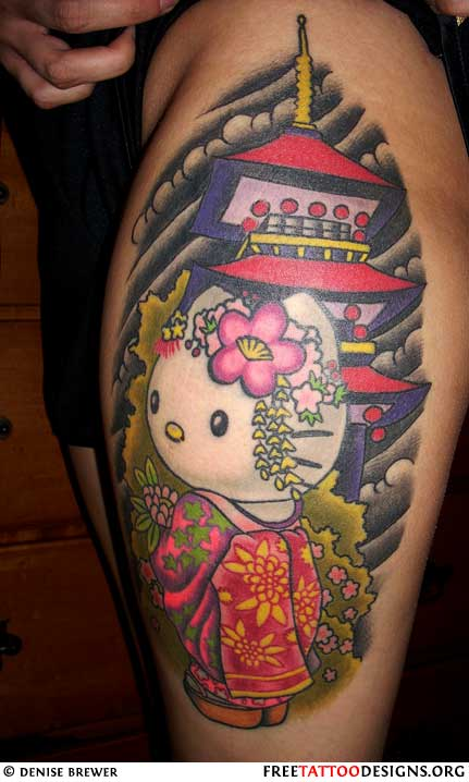 Hello Kitty Cartoon Tattoo
