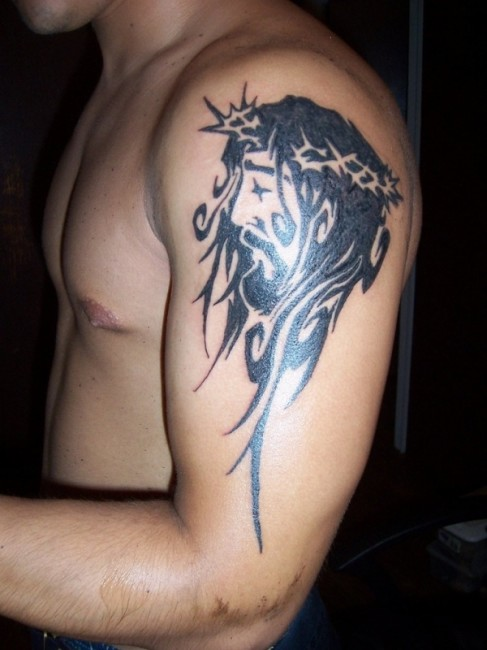 Holy Christian Tattoo On Shoulder