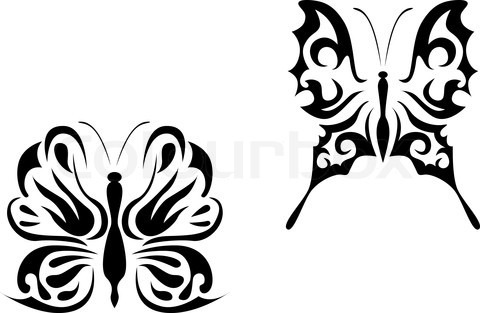 Isolated Butterfly Tattoo In Tribal Style On White Background