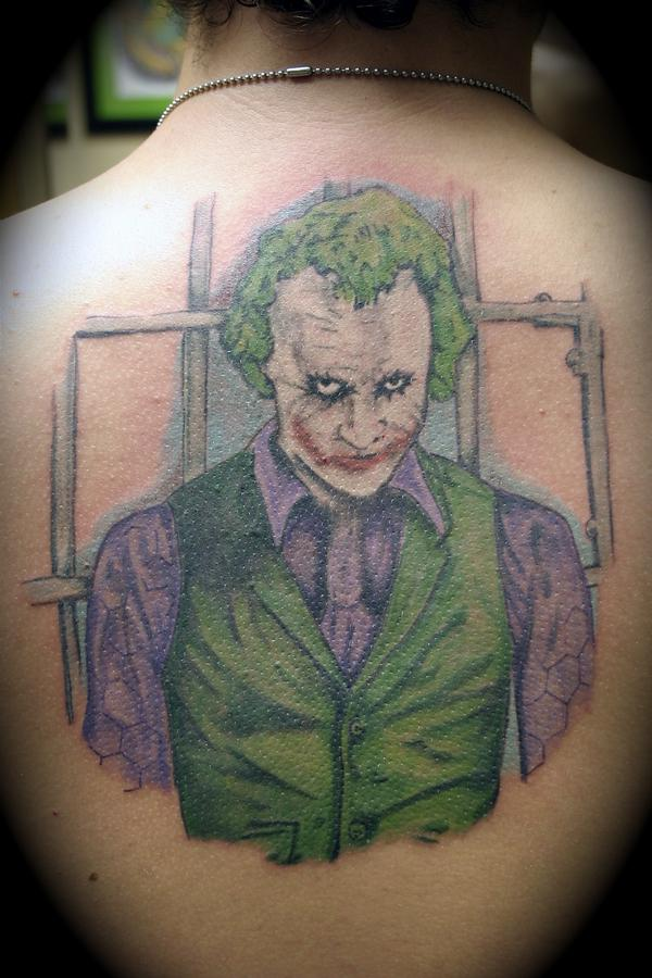Jonathan Joker Cartoon Tattoo On Back