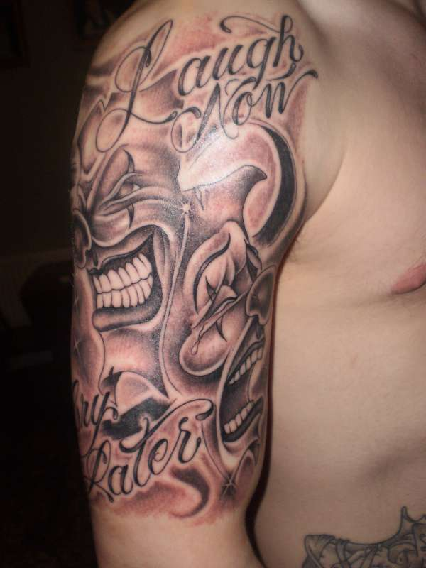 Laugh Now Cry Later Clown Tattoo For Shoulder