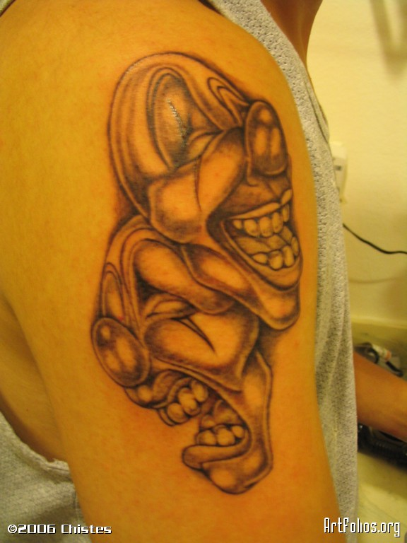 Laugh Now Cry Later Tattoo Clown On Shoulder