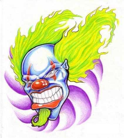 Long Hair Clown Face Tattoo Design