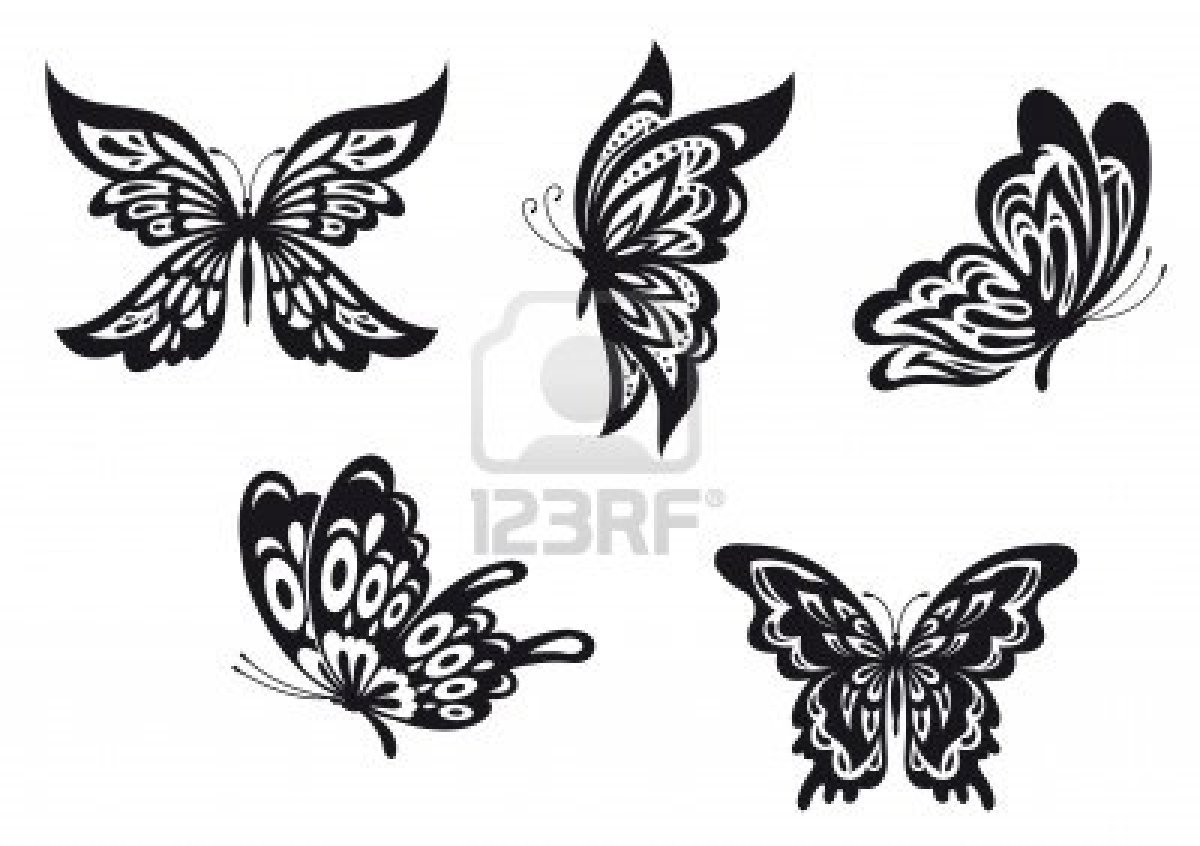 Lots Of Black Butterfly Tattoo Designs