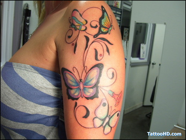 Lovely Butterfly Tattoo Designs On Shoulder
