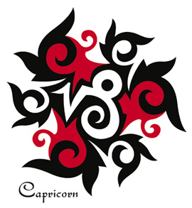 Lovely Capricorn Zodiac Symbol Tattoo Design