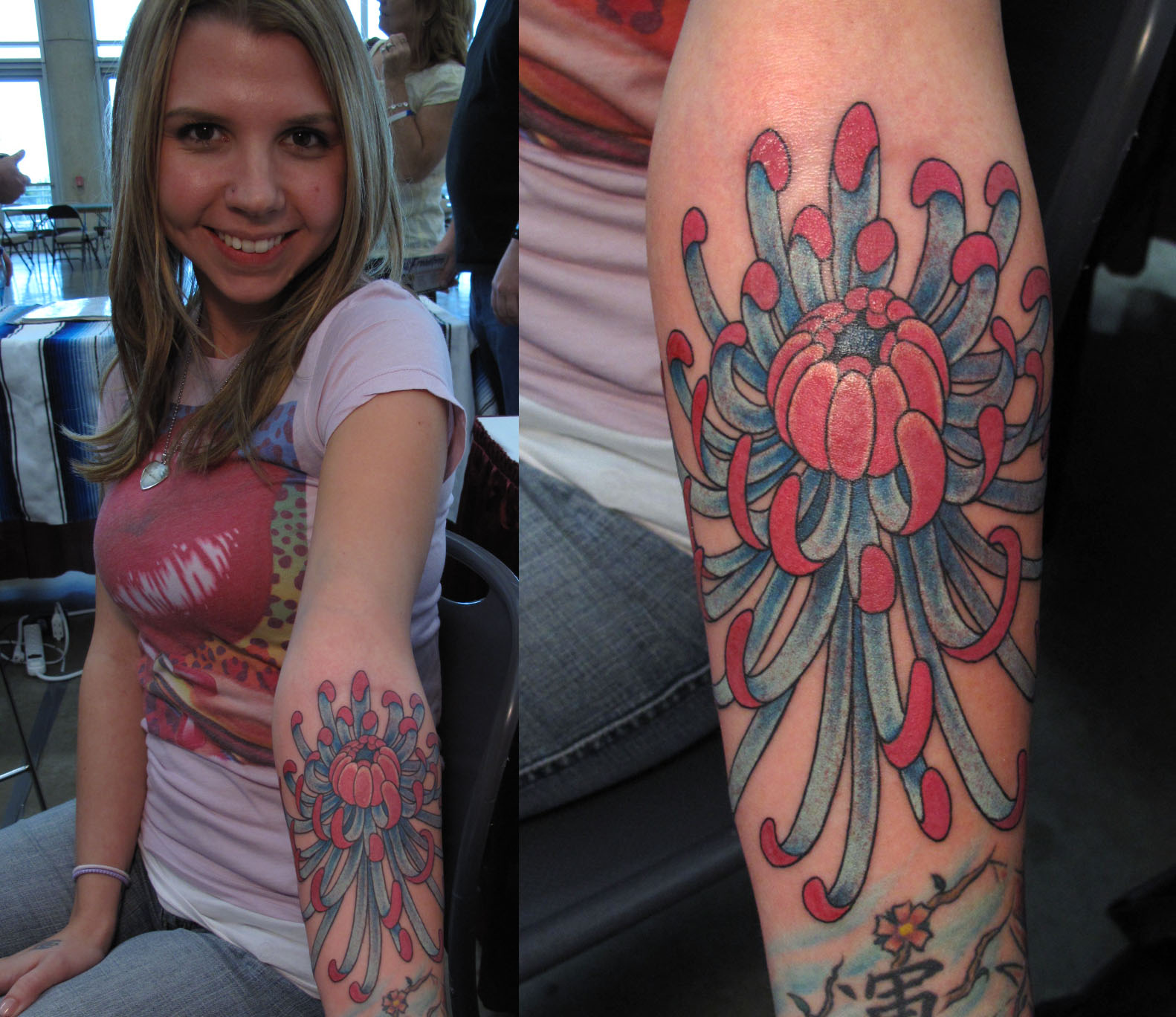Lovely Girl Showing Chrysanthemum Tattoo On Arm