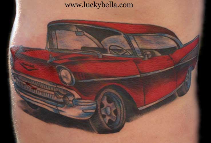 Lovely Red Car Tattoo