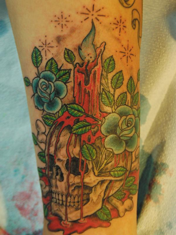 Melting Candle On Skull Tattoo Design With Flowers