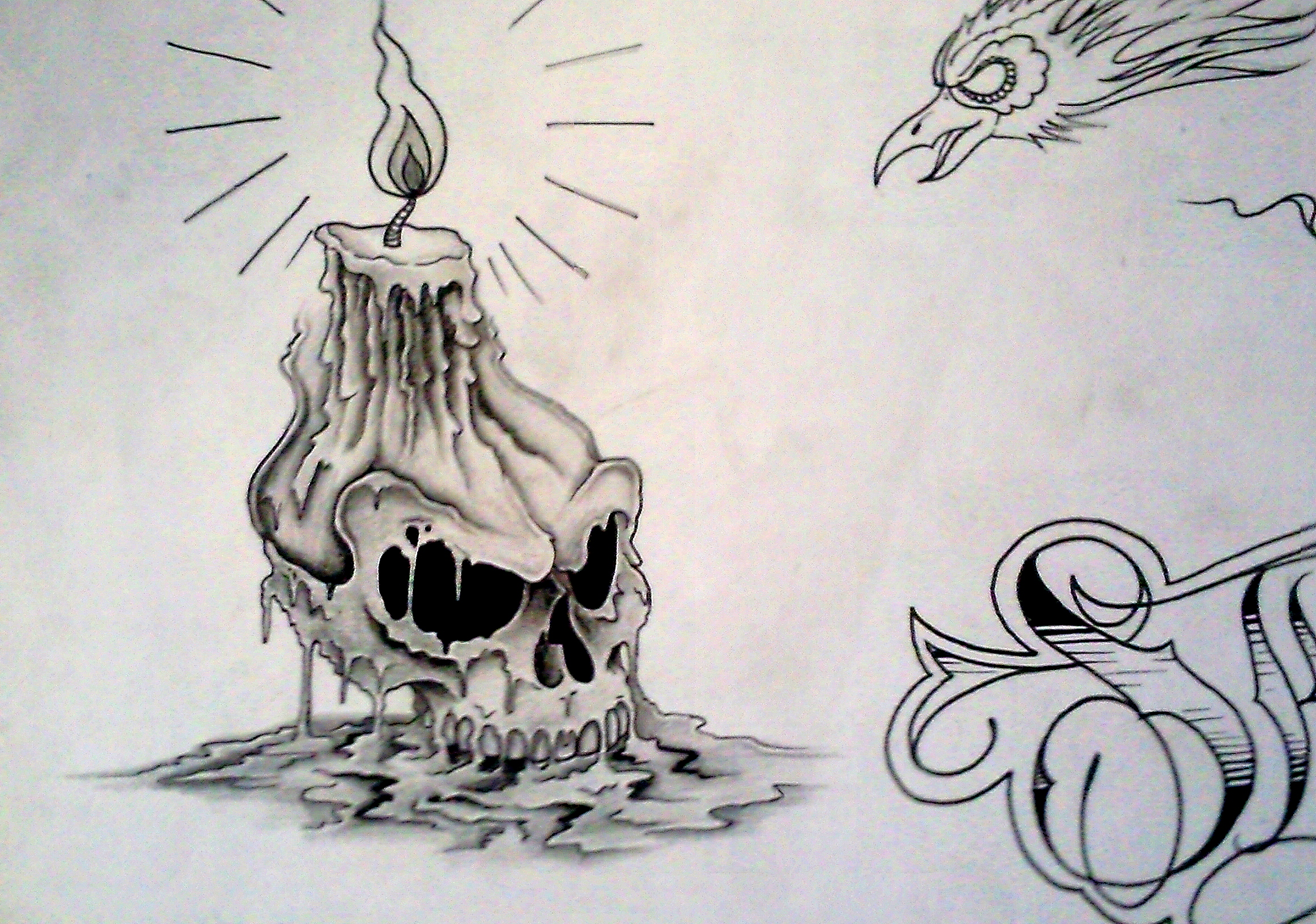 Melting Candle Skull Tattoo Design