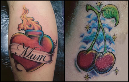 Mum Heart & Cherries Tattoo  Image