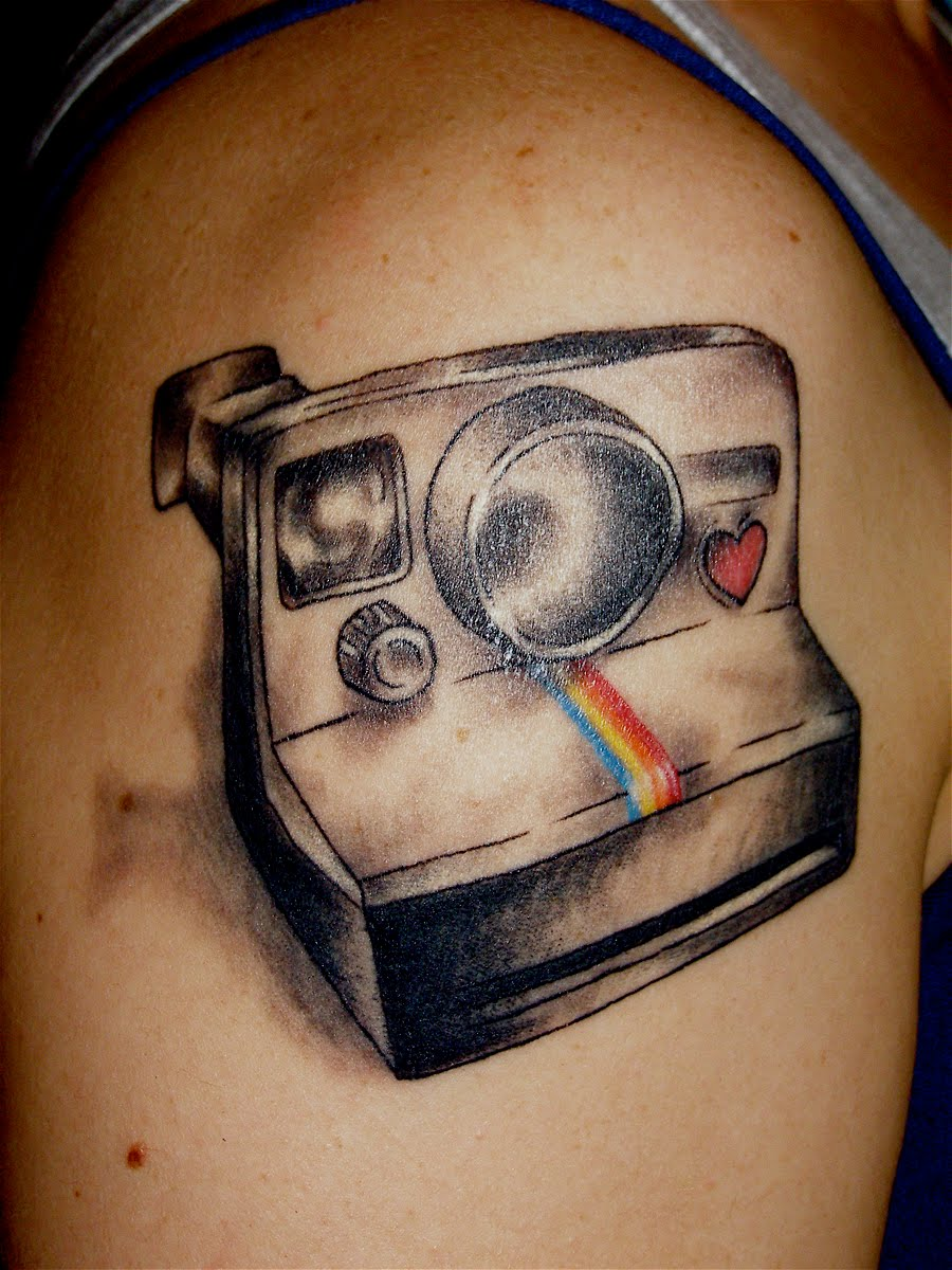 One Shot Polaroid Camera Tattoo On Biceps