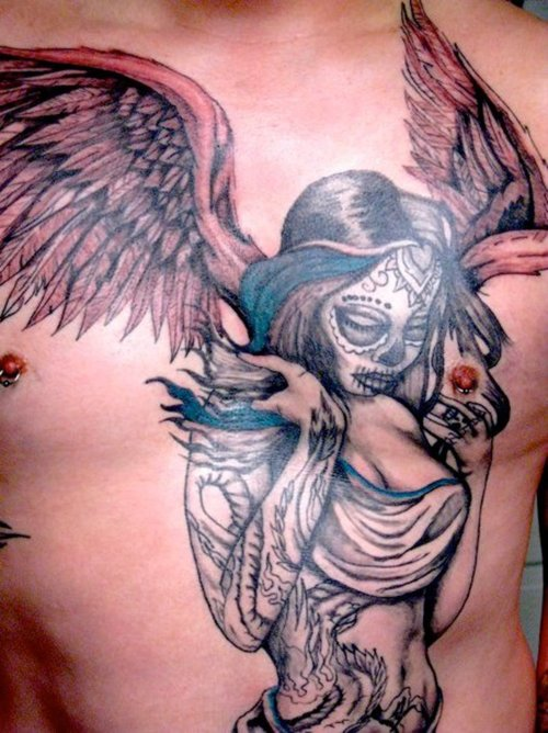 Outstanding Angel Girl Tattoo Design On Chest
