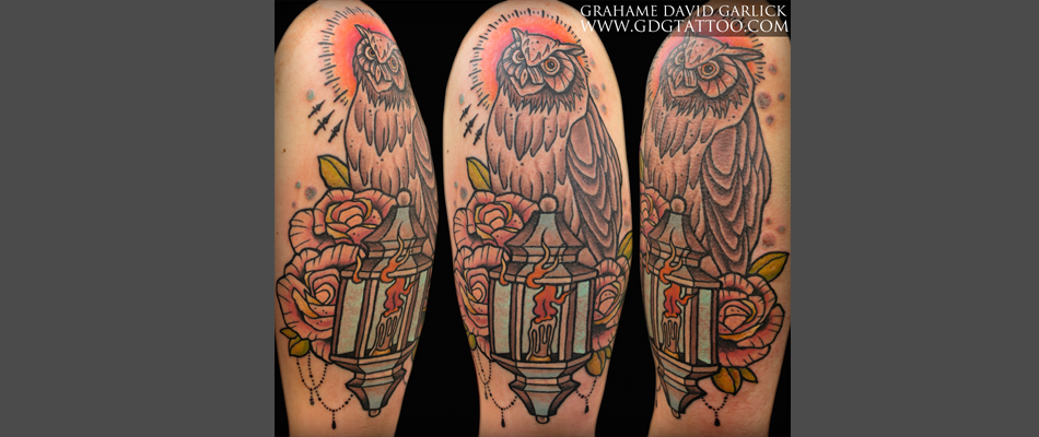 Owl Candle Lantern & Roses Tattoo Design