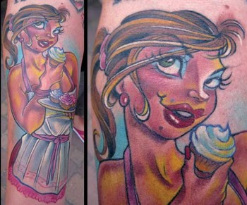 Pin Up Girl With Cup Cake Tattoo Design