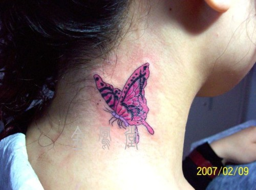 Pink Butterfly Tattoo On Neck