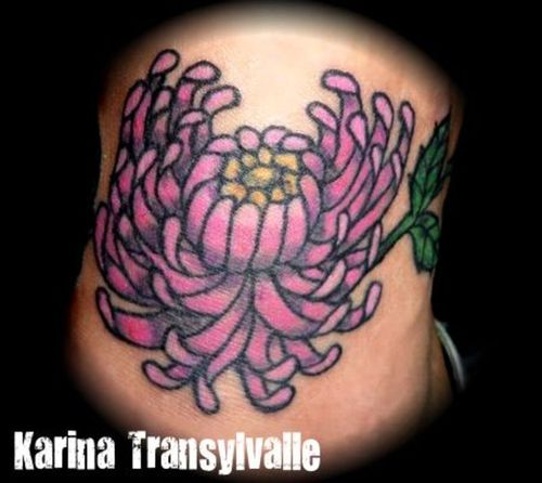 Pink Chrysanthemum Tattoo Design