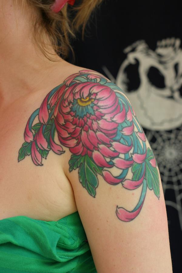 Pink Chrysanthemum Tattoo On Shoulder