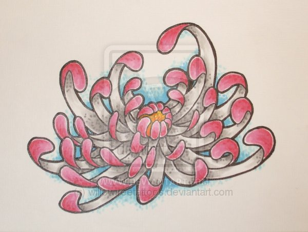 Pink Chrysanthemum Tattoo Sample