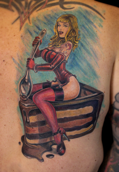 Pinup Girl On Piece Of Cake Tattoo