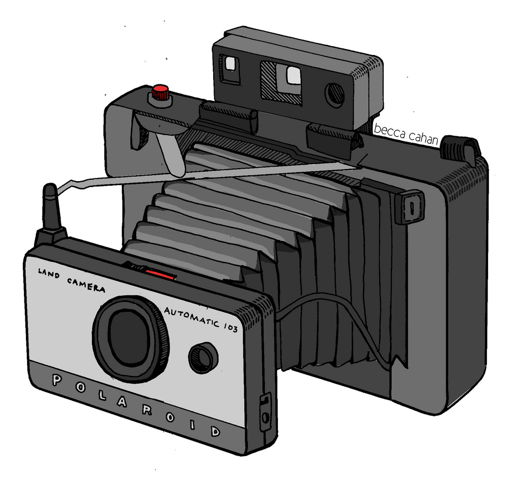 Polaroid Land Camera Tattoo Design