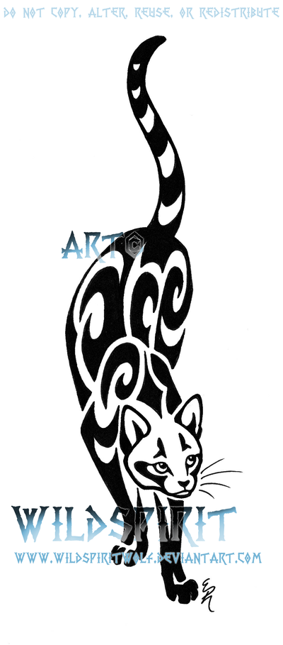 Prowling Cat Tattoo Design