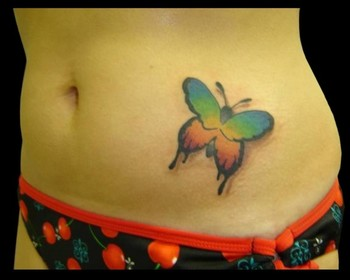 Rainbow Butterfly Tattoo On Belly