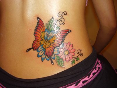 Red Butterfly With Flowers Tattoo Design