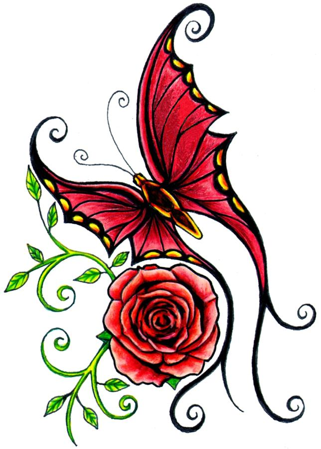 Red Butterfly With Rose Tattoo Design
