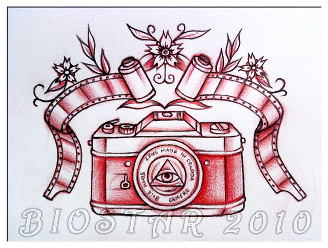 Red Camera With Film Tattoo Design