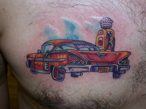 Red Car Tattoo On Chest