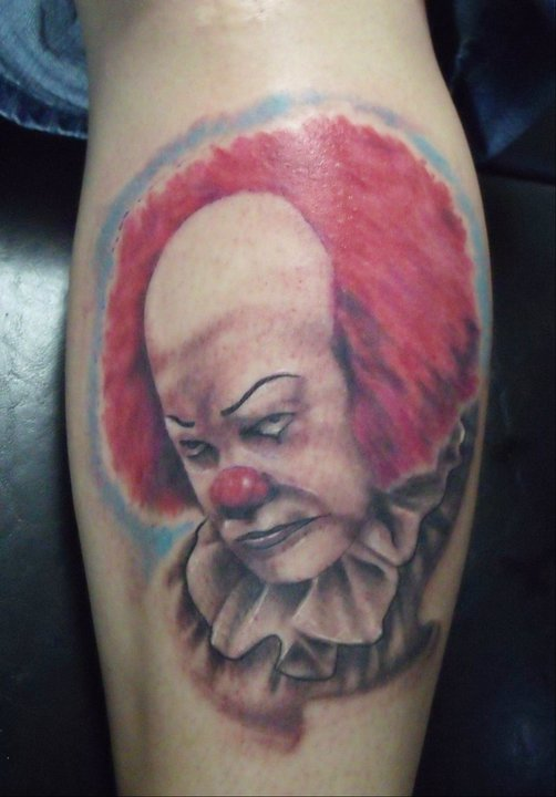 Red Hair Clown Tattoo Design