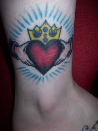 Red Heart Claddagh Tattoo On Ankle