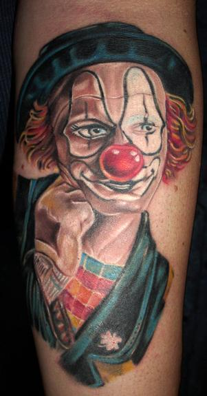 Red Nose Joker Clown Tattoo Design