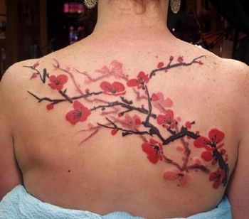 Red Pink Cherry Blossom Tattoo On Upper Back