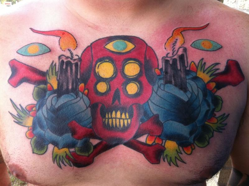 Red Skull Blue Roses & Black Candle Tattoo On Chest