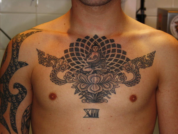 Religious Buddha Tattoo On Chest