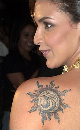 Religious Tattoo On Bollywood Celebrity Shoulder Back