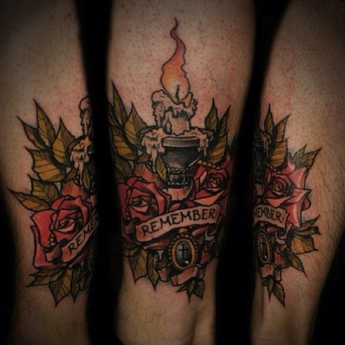 Remember Candle & Roses Tattoo Design