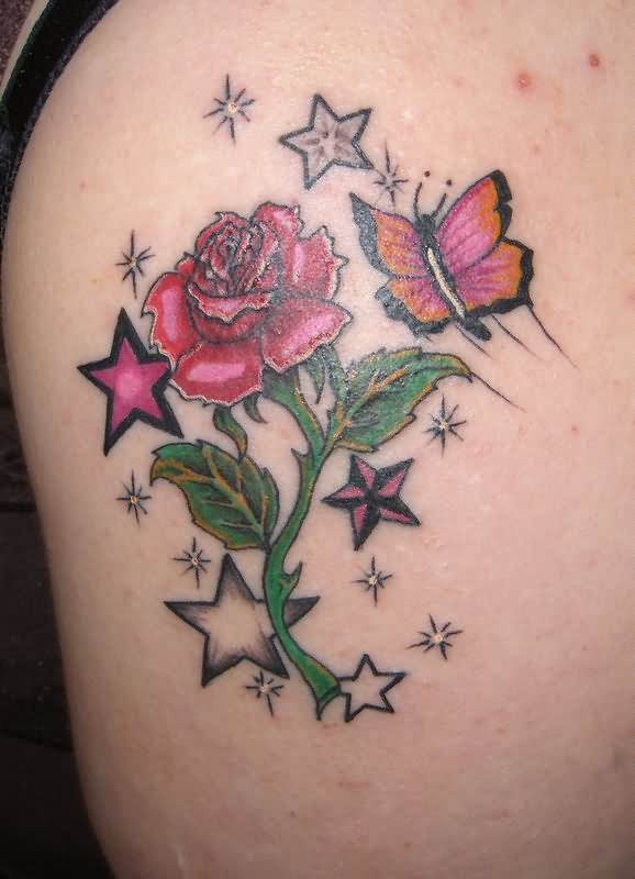 Rose Stars & Butterfly Tattoo Design