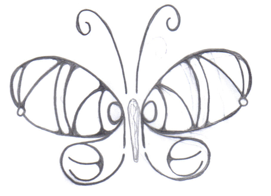 Round Sinner Butterfly Tattoo Design