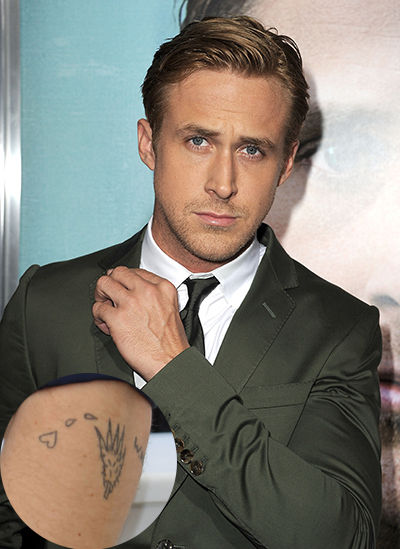 Ryan Gosling Wolf Paw Tattoo