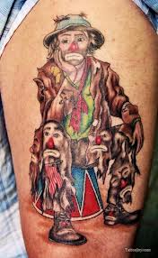 Sad Clown with Faces Tattoo