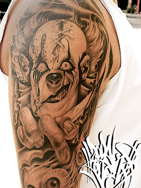 Scary Clown Tattoo For Men