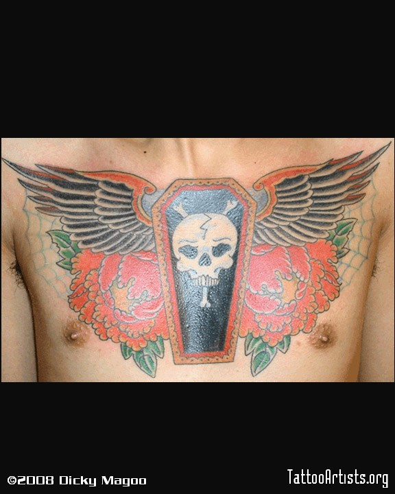 Skull Coffin Tattoo On Chest