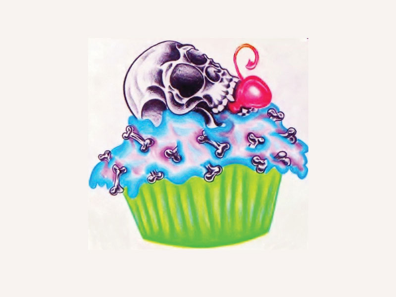 Skull On Colorful Cup Of Cake Tattoo Design