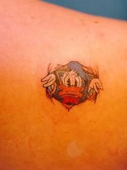 Small Size Donald Duck Cartoon Tattoo