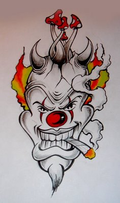 Smoking Clown Tattoo