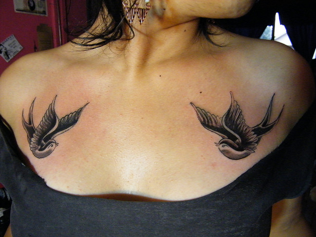 Swallows Tattoo On Chest
