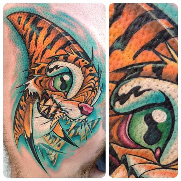 Tiger Shark Cartoon Tattoo